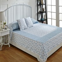 Ratan Jaipur Cotton Double Bed Cover Blue, Bed Cover, 2 Cushion Cover