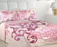 Natraj Polycotton Queen Bed Cover Pink, Set Of 3 Pcs (1 Double Bed Cover, 2 Pillow Covers)