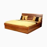 Godrej Interio Aryan Engineered Wood King Bed With Storage (Finish Color -  Light Walnut)