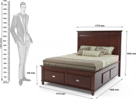 Dream Furniture India Solid Wood King Bed With Storage