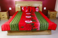 Kotton Cotton Silk Blend Bedding Set Red, Forest Green