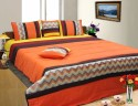 Dekor World Ikat Embroidered Quilt Set Bedding Set - Maroon, Orange, Yellow