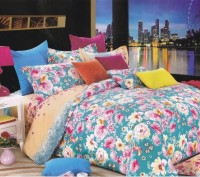 Just Linen 250 TC Cotton Sateen Turquoise Floral Printed Bedding Set (Multi Colored)