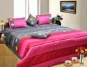 Dekor World Leaf Design Quilt Set Bedding Set - Grey, Pink