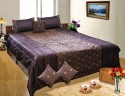 Dekor World Flower Embroidered Quilt Set Bedding Set - Brown