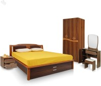 Royal Oak Engineered Wood Bed + Side Table + Wardrobe + Dressing Table (Finish Color - Brown)