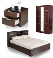 Royal Oak Engineered Wood Bed + Side Table + Wardrobe (Finish Color - Honey Brown)