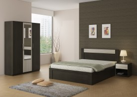 Spacewood Engineered Wood Bed + Side Table + Wardrobe
