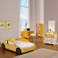 Elenza Legare Engineered Wood Bed + Study Table + Dressing Table + Bookshelf (Finish Color - Yellow)