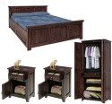 Natural Living Solid Wood Bed + Side Table + Wardrobe (Finish Color - Mahogany) - BESE9S7STR85XEER