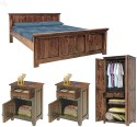 Natural Living Solid Wood Bed + Side Table + Wardrobe (Finish Color - Honey Brown) - BESE9S7SHPPYYN5Y