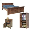 Natural Living Solid Wood Bed + Side Table + Wardrobe (Finish Color - Honey Brown) - BESE9S7SYFZZ8NYJ