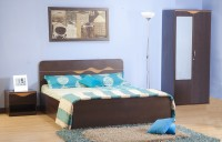 HomeTown Engineered Wood Bed + Side Table + Wardrobe (Finish Color - Denver Oak , Urban Teak)