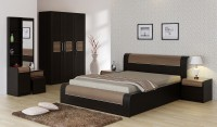 SPACEWOOD Engineered Wood Bed + Side Table + Wardrobe + Dressing Table (Finish Color - Natural Wenge Woodpore)