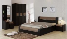 Spacewood Engineered Wood Bed + Side Table + Wardrobe + Dressing Table