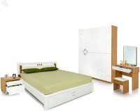 Royal Oak Engineered Wood Bed + Side Table + Wardrobe + Dressing Table (Finish Color - White) - BESEGNY3EPBCJUSG