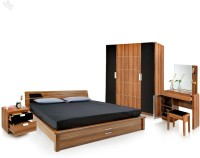 Royal Oak Engineered Wood Bed + Side Table + Wardrobe + Dressing Table (Finish Color - Brown) - BESEGNY4ERSFSWBA