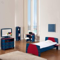 Elenza Legare Engineered Wood Bed + Study Table + Dressing Table + Bookshelf (Finish Color - Blue)