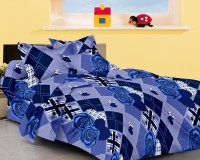 JBG Home Store Cotton Floral King Bedsheet 1 Bedsheet, 2 Pillow Covers, Blue
