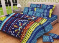 Lali Prints Cotton Floral King Sized Double Bedsheet 1 Double Super King Size Bedsheet With 2 Pillow Covers, Blue