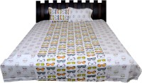 Nathi And Nancy Cotton Abstract Double Bedsheet 1 Bed Sheet & 2 Pillow Covers, Multicolor - BDSEK7HSHYNZ94KY
