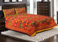 Jaipuri Haat Cotton Embroidered King Sized Double Bedsheet 1 Bedsheet, 2 Pillow Covers, Multicolor