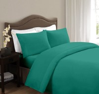 Ahmedabad Cotton Cotton Solid Double Bedsheet 1 Double Bedsheet, 2 Pillow Covers, Dark Green