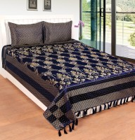 Rashi Homes Silk Floral Queen Sized Double Bedsheet 1 Double Bed Bedsheet, 2 Pillow Cover, Blue
