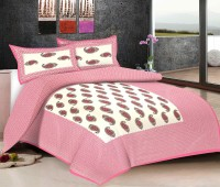 Viskar Fab Tex Cotton Printed Double Bedsheet One Traditional Hand Block Jaipuri Cotton Printed Double BedSheet With 2 Pillow Covers, Rose Pink