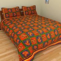 Vastra Design Cotton Embroidered Double Fitted Bedsheet 1 Bedsheet, 2 Pillows, Multicolor