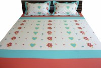 Aiva Little Pipal Hearts N Flowers Kids Flat Double Bedsheet