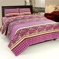 Bed & Bath Cotton Checkered, Paisley, Printed Queen Sized Double Bedsheet 1 Bedsheet, 2 Pillow Covers, Pink, Beige, Black