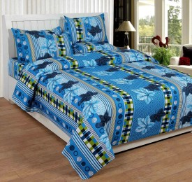 Divine Creations Cotton Printed, Floral Double Bedsheet