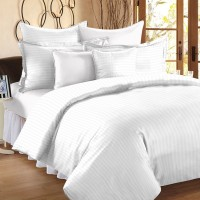 Ahmedabad Cotton Cotton, Satin Striped King Sized Double Bedsheet 1 Double Bedsheet, 2 Pillow Covers, White