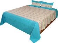 Home Colors Cotton Striped King Sized Double Bedsheet 2 Pillow Cover, 1 Bedsheet, Light Blue