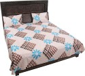 K2M2 WC-550 Brown Criss Cross Floral Blue With Two Pillow Covers Flat Double Bedsheet