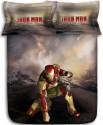 Stoa Paris Brown Iron Man 300TC Bedlinens Printed Flat Double Bedsheet