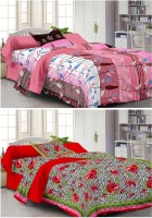 Story @ Home Cotton Floral Single Bedsheet 2 Pc Single Bedsheet With 2 Pillow Cover, Multicolor
