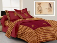 Lali Prints Cotton Embroidered King Sized Double Bedsheet 1 Bed Sheet, 2 Pillow Covers, Maroon