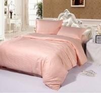 REDHOT Satin Striped King Sized Double Bedsheet 1 Double Bedsheet,2 Pillow Cover, Peach