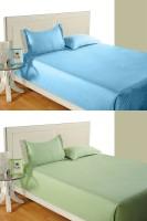 Idrape Cotton Striped Double Bedsheet 2 Double Bed Sheet, 4 Pillow Covers (Combo Offer ), Light Blue, Light Green