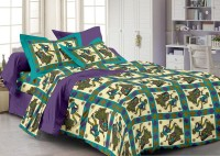Story @ Home Cotton Printed Double Bedsheet 1 Bedsheet, 2 Pillow Cover, Purple