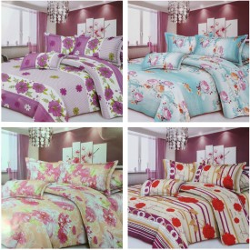Paprika Polyester Floral Double Bedsheet
