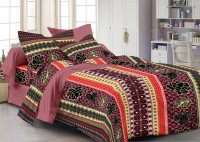 Story @ Home Cotton Printed Double Fitted Bedsheet 1 Double Bedsheet With 2 Pillow Cover, Double King