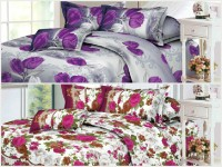 Floral Delight Polycotton Floral, 3D Printed Queen Bedsheet 2 BedSheets, 4 Pillow Covers, Multicolor