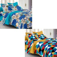 Story @ Home Cotton Printed Double Bedsheet Set Of 2 Double Bedsheet With 4 Pillow Cover, Multicolor