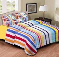 Home Originals Polycotton Striped Double Bedsheet 1 Double Bedsheet, 2 Pillow Covers, Multicolor