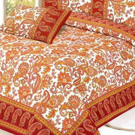 Aapno Rajasthan Cotton Floral Double Bedsheet