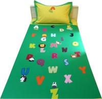 Aiva Little Pipal Alphabet Zoo Green Kids Flat Single Bedsheet
