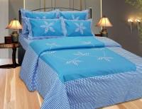 Decor Vatika Cotton Embroidered Double Bedsheet 1 Double Bedsheet, 2 Pillow Covers, Blue